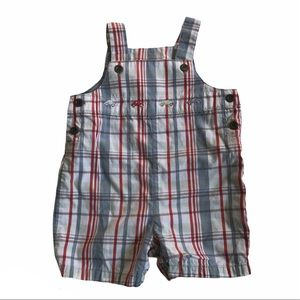 Janie And Jack Plaid Car Embroidered Overalls 0-3M